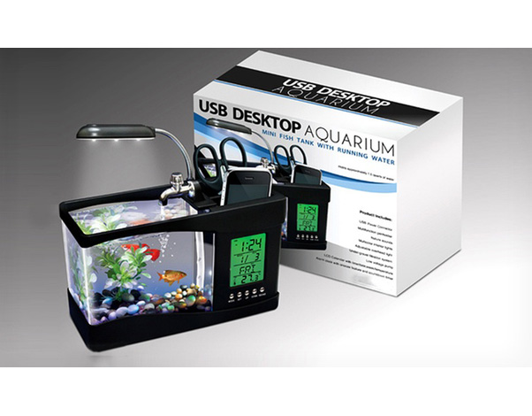 usb bureau aquarium met pennenhouder gogo gadgets. Black Bedroom Furniture Sets. Home Design Ideas